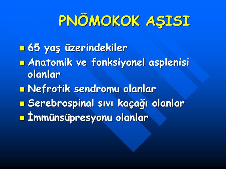 PNÖMOKOK AŞISI 65 yaş üzerindekiler 65 yaş üzerindekiler Anatomik ve fonksiyonel asplenisi olanlar Anatomik ve fonksiyonel asplenisi olanlar Nefrotik