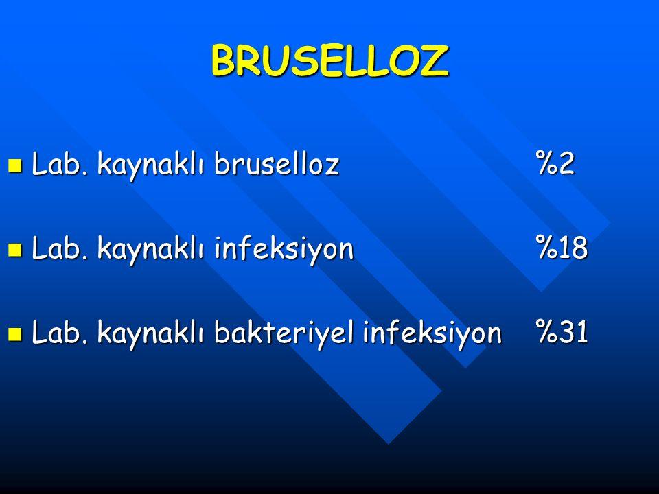 BRUSELLOZ Lab. kaynaklı bruselloz%2 Lab. kaynaklı bruselloz%2 Lab. kaynaklı infeksiyon %18 Lab. kaynaklı infeksiyon %18 Lab. kaynaklı bakteriyel infek