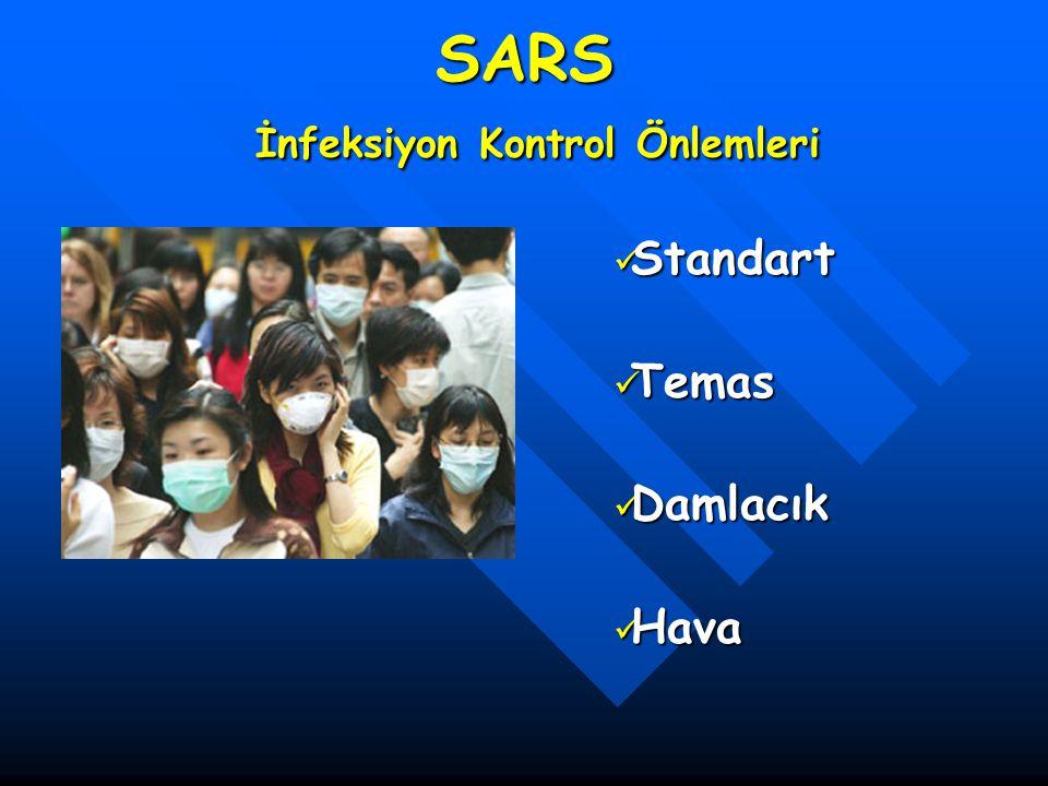 SARS İnfeksiyon Kontrol Önlemleri Standart Standart Temas Temas Damlacık Damlacık Hava Hava