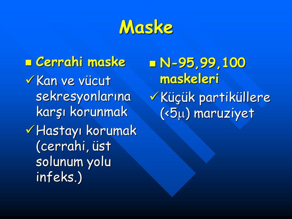 Maske Cerrahi maske Cerrahi maske Kan ve vücut sekresyonlarına karşı korunmak Kan ve vücut sekresyonlarına karşı korunmak Hastayı korumak (cerrahi, üs