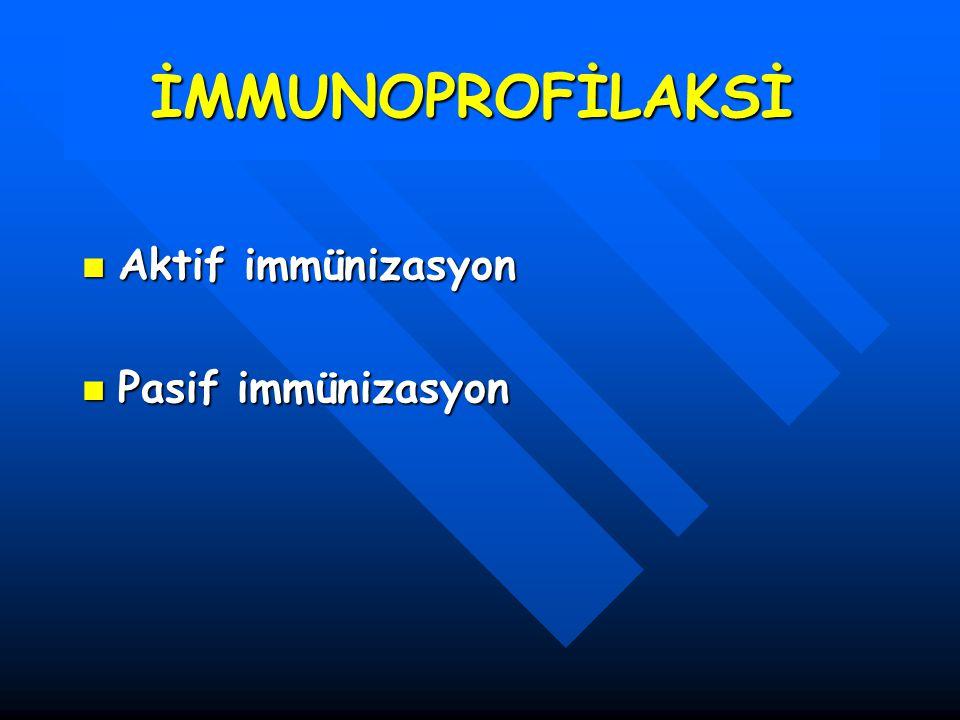 İMMUNOPROFİLAKSİ Aktif immünizasyon Aktif immünizasyon Pasif immünizasyon Pasif immünizasyon