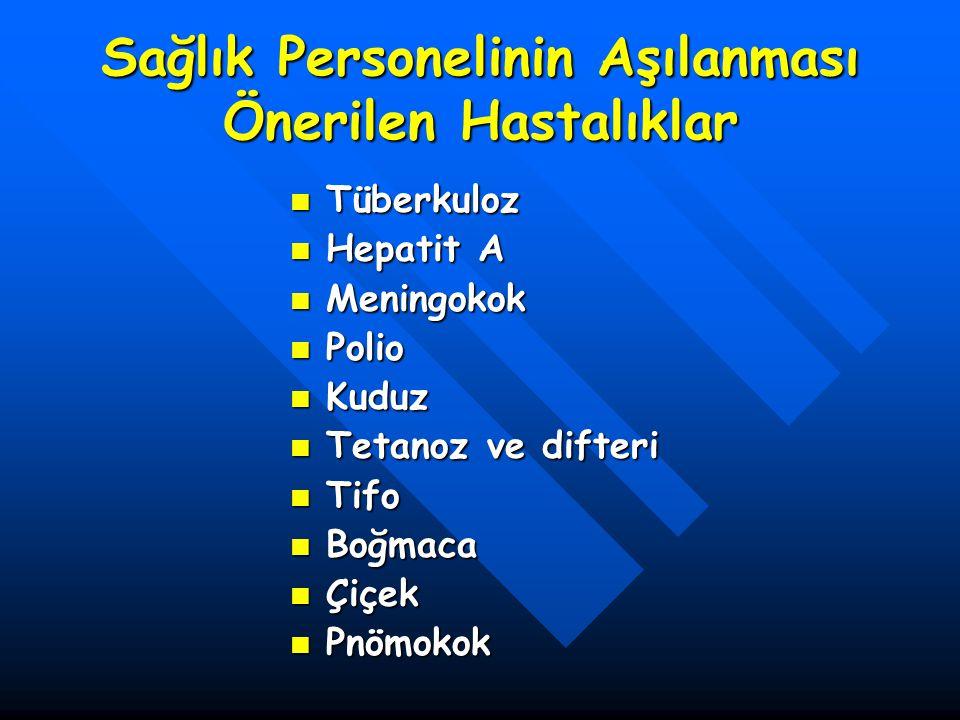 Sağlık Personelinin Aşılanması Önerilen Hastalıklar Tüberkuloz Tüberkuloz Hepatit A Hepatit A Meningokok Meningokok Polio Polio Kuduz Kuduz Tetanoz ve