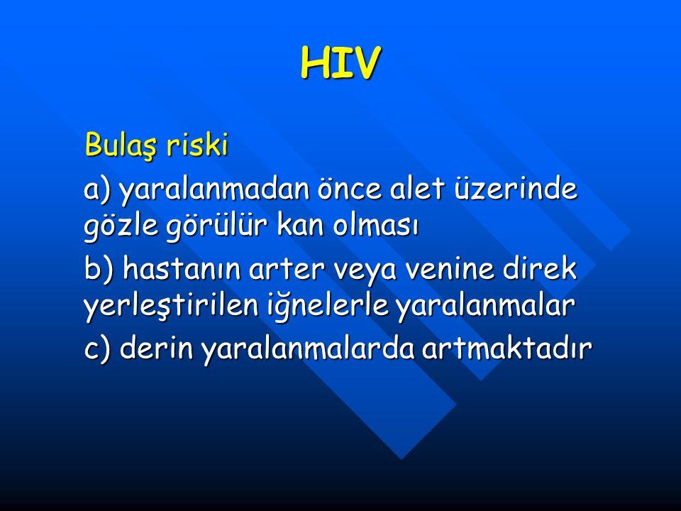HIV Bulaş riski a) yaralanmadan önce alet üzerinde gözle görülür kan olması b) hastanın arter veya venine direk yerleştirilen iğnelerle yaralanmalar c