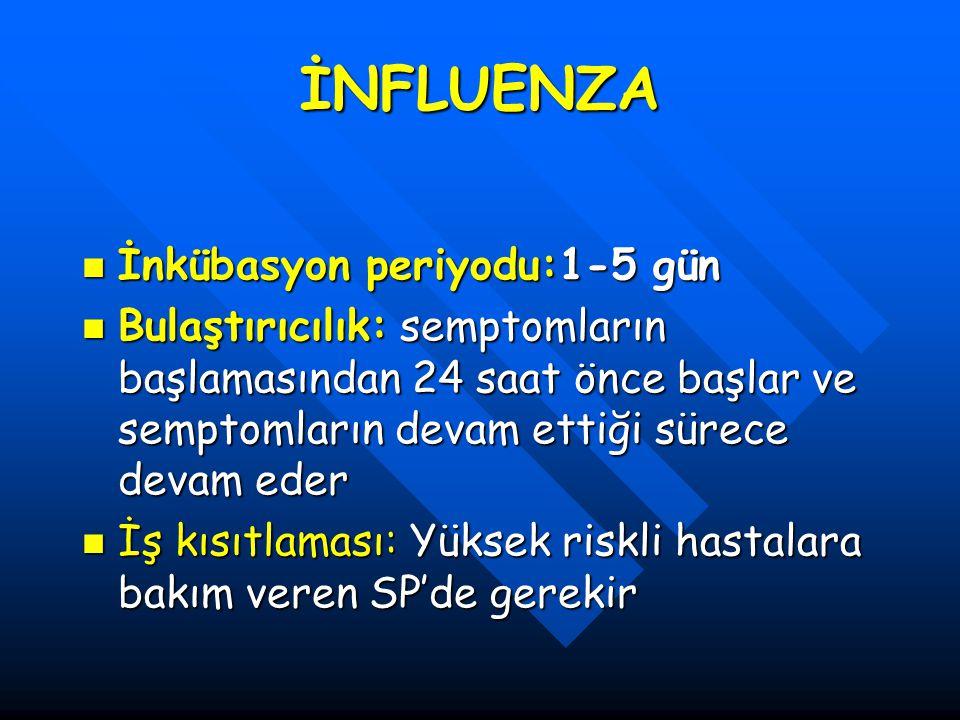 İNFLUENZA İnkübasyon periyodu:1-5 gün İnkübasyon periyodu:1-5 gün Bulaştırıcılık: semptomların başlamasından 24 saat önce başlar ve semptomların devam