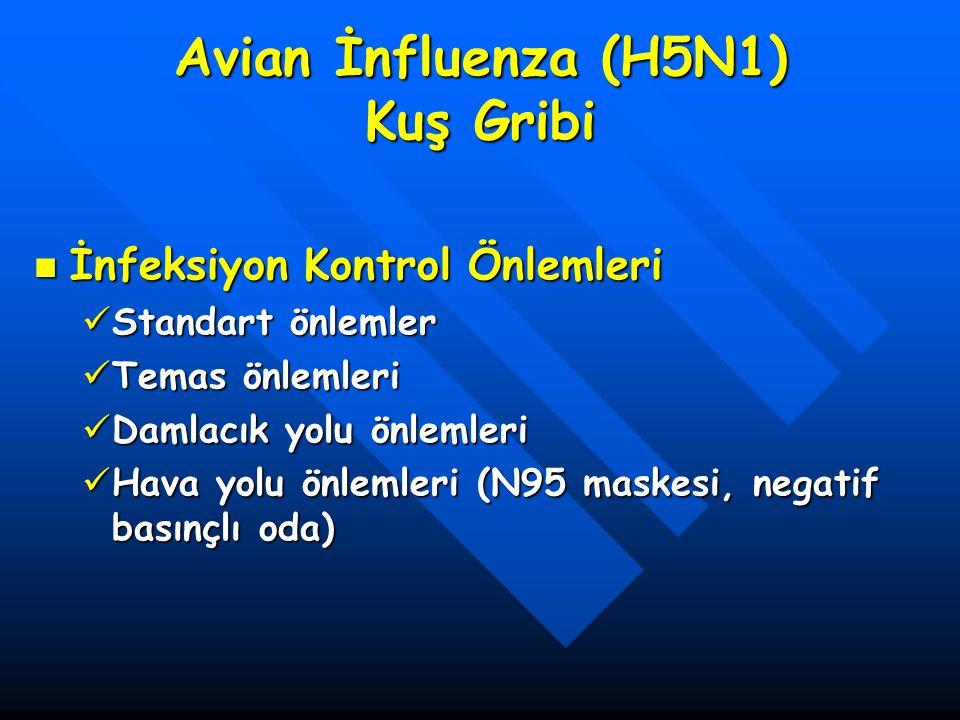 Avian İnfluenza (H5N1) Kuş Gribi İnfeksiyon Kontrol Önlemleri İnfeksiyon Kontrol Önlemleri Standart önlemler Standart önlemler Temas önlemleri Temas ö