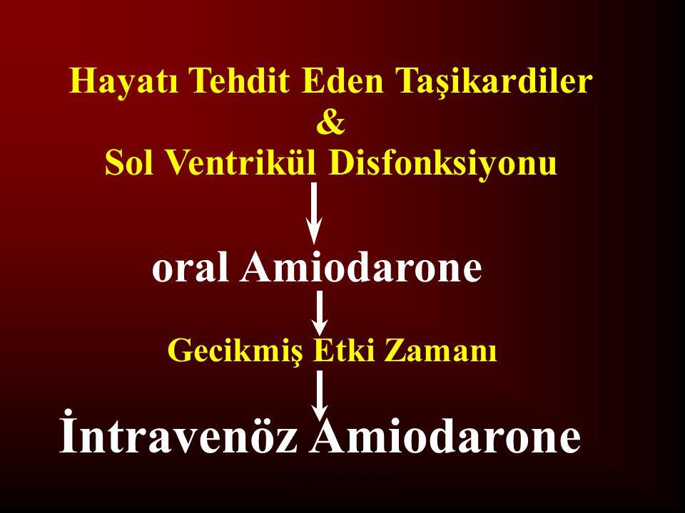 IV AMIODARONE Hayatı Tehdit Eden Taşikardiler & Sol Ventrikül Disfonksiyonu oral Amiodarone Gecikmiş Etki Zamanı İntravenöz Amiodarone