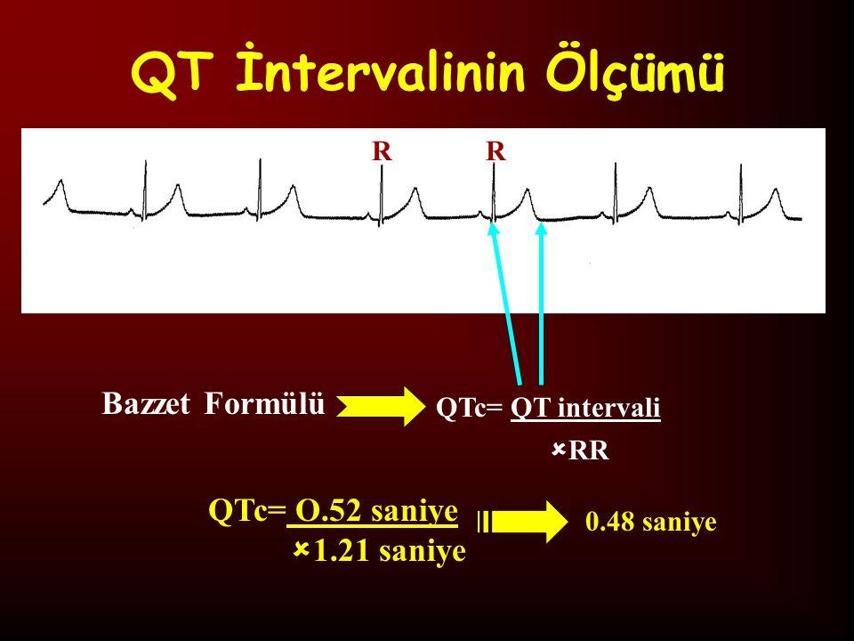QT İntervalinin Ölçümü QTc= QT intervali Bazzet Formülü  RR RR QTc= O.52 saniye  1.21 saniye 0.48 saniye