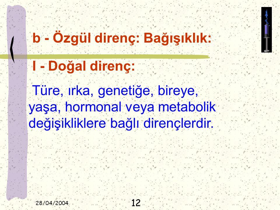 28/04/2004 b - Özgül direnç: Bağışıklık: I - Doğal direnç: Türe, ırka, genetiğe, bireye, yaşa, hormonal veya metabolik değişikliklere bağlı dirençlerd