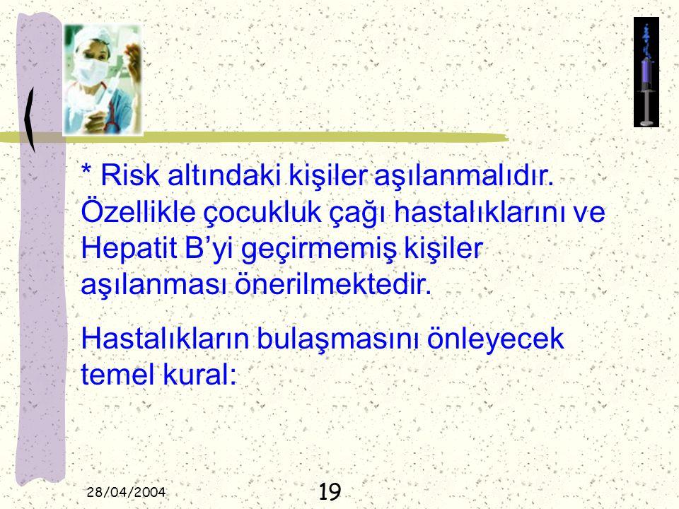 28/04/2004 * Risk altındaki kişiler aşılanmalıdır. Özellikle çocukluk çağı hastalıklarını ve Hepatit B'yi geçirmemiş kişiler aşılanması önerilmektedir