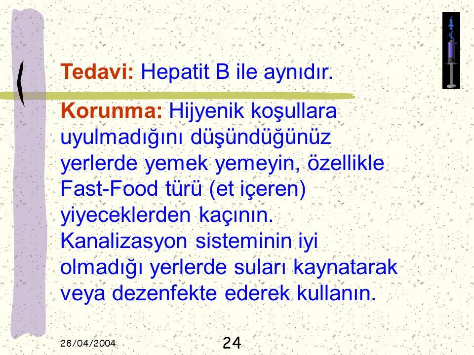 28/04/2004 Tedavi: Hepatit B ile aynıdır. Korunma: Hijyenik koşullara uyulmadığını düşündüğünüz yerlerde yemek yemeyin, özellikle Fast-Food türü (et i