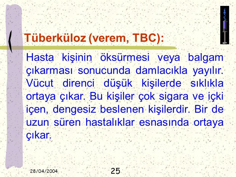 28/04/2004 Tüberküloz (verem, TBC): Hasta kişinin öksürmesi veya balgam çıkarması sonucunda damlacıkla yayılır. Vücut direnci düşük kişilerde sıklıkla