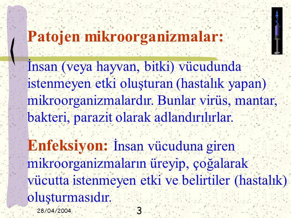 28/04/2004 Patojen mikroorganizmalar: İnsan (veya hayvan, bitki) vücudunda istenmeyen etki oluşturan (hastalık yapan) mikroorganizmalardır. Bunlar vir