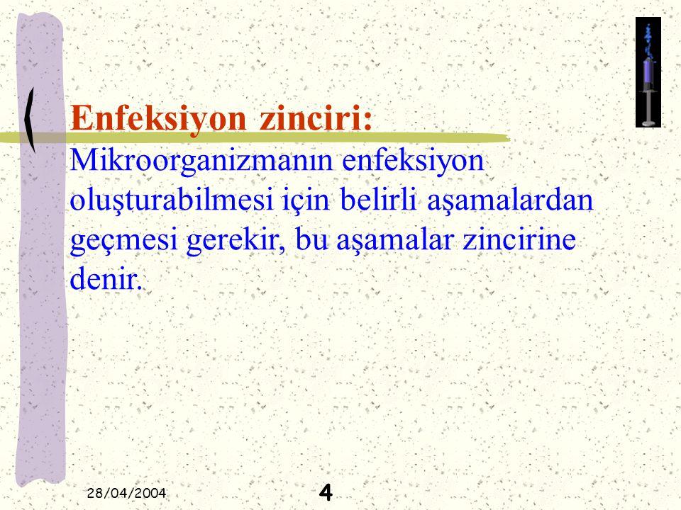 28/04/2004 Enfeksiyon zinciri: Mikroorganizmanın enfeksiyon oluşturabilmesi için belirli aşamalardan geçmesi gerekir, bu aşamalar zincirine denir. 4