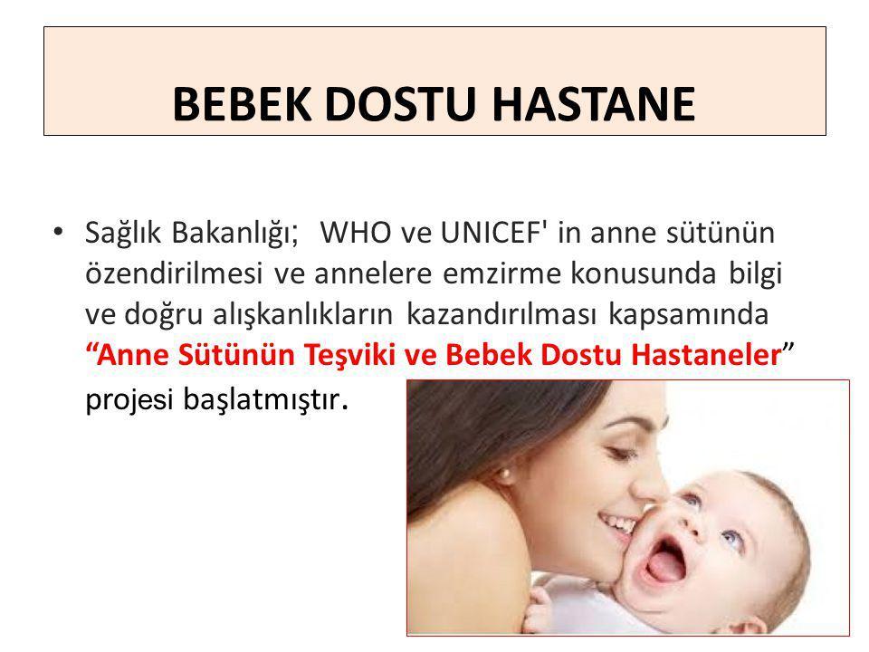 Sağlık Bakanlığı ; WHO ve UNICEF in anne sütünün özendirilmesi ve annelere emzirme konusunda bilgi ve doğru alışkanlıkların kazandırılması kapsamında Anne Sütünün Teşviki ve Bebek Dostu Hastaneler pro jesi başlatmıştır.