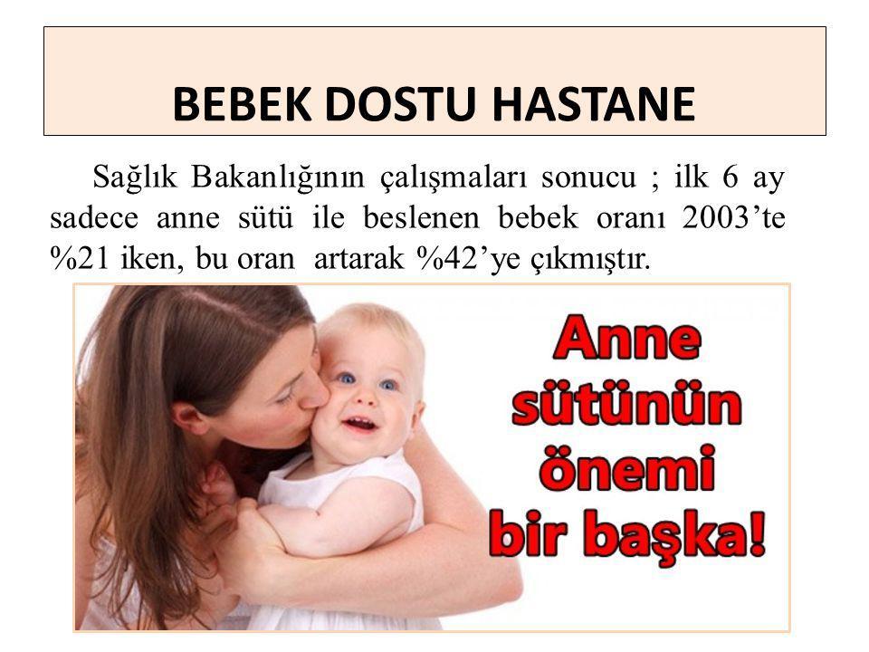Sağlık Bakanlığının çalışmaları sonucu ; ilk 6 ay sadece anne sütü ile beslenen bebek oranı 2003'te %21 iken, bu oran artarak %42'ye çıkmıştır.