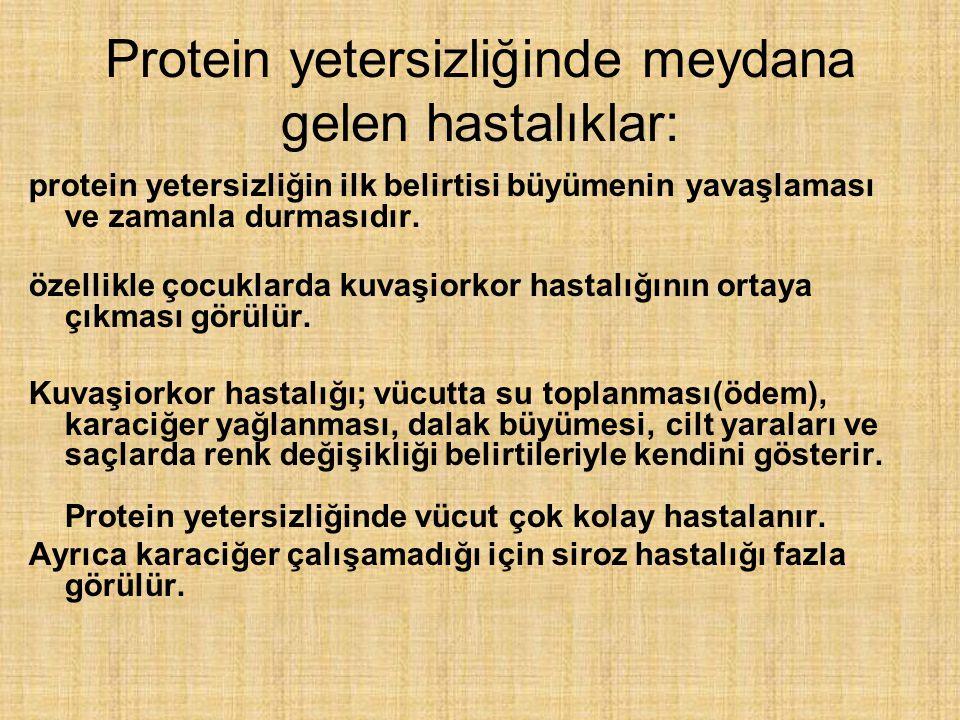 Protein yetersizliğinde meydana gelen hastalıklar: protein yetersizliğin ilk belirtisi büyümenin yavaşlaması ve zamanla durmasıdır. özellikle çocuklar