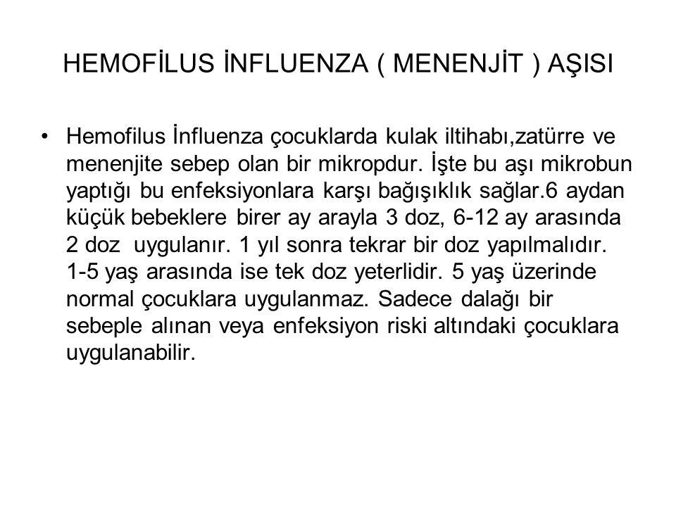 HEMOFİLUS İNFLUENZA ( MENENJİT ) AŞISI Hemofilus İnfluenza çocuklarda kulak iltihabı,zatürre ve menenjite sebep olan bir mikropdur. İşte bu aşı mikrob