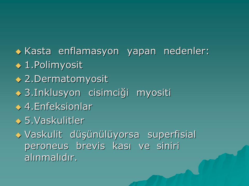  Kasta enflamasyon yapan nedenler:  1.Polimyosit  2.Dermatomyosit  3.Inklusyon cisimciği myositi  4.Enfeksionlar  5.Vaskulitler  Vaskulit düşün