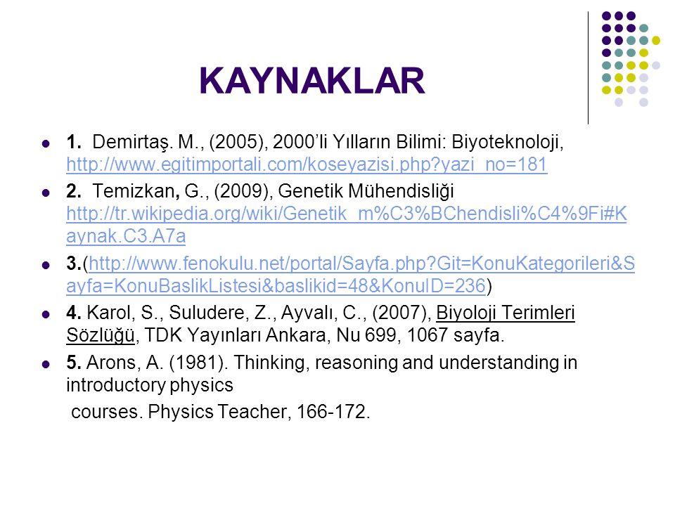 KAYNAKLAR 1. Demirtaş. M., (2005), 2000'li Yılların Bilimi: Biyoteknoloji, http://www.egitimportali.com/koseyazisi.php?yazi_no=181 http://www.egitimpo
