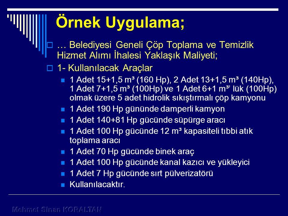 Örnek Uygulama;  … Belediyesi Geneli Çöp Toplama ve Temizlik Hizmet Alımı İhalesi Yaklaşık Maliyeti;  1- Kullanılacak Araçlar 1 Adet 15+1,5 m³ (160 Hp), 2 Adet 13+1,5 m³ (140Hp), 1 Adet 7+1,5 m³ (100Hp) ve 1 Adet 6+1 m³' lük (100Hp) olmak üzere 5 adet hidrolik sıkıştırmalı çöp kamyonu 1 Adet 190 Hp gününde damperli kamyon 1 Adet 140+81 Hp gücünde süpürge aracı 1 Adet 100 Hp gücünde 12 m³ kapasiteli tıbbi atık toplama aracı 1 Adet 70 Hp gücünde binek araç 1 Adet 100 Hp gücünde kanal kazıcı ve yükleyici 1 Adet 7 Hp gücünde sırt pülverizatörü Kullanılacaktır.