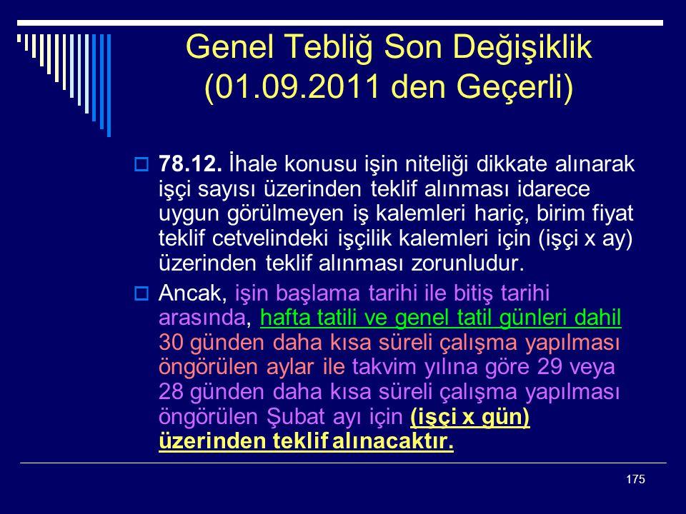 175 Genel Tebliğ Son Değişiklik (01.09.2011 den Geçerli)  78.12.