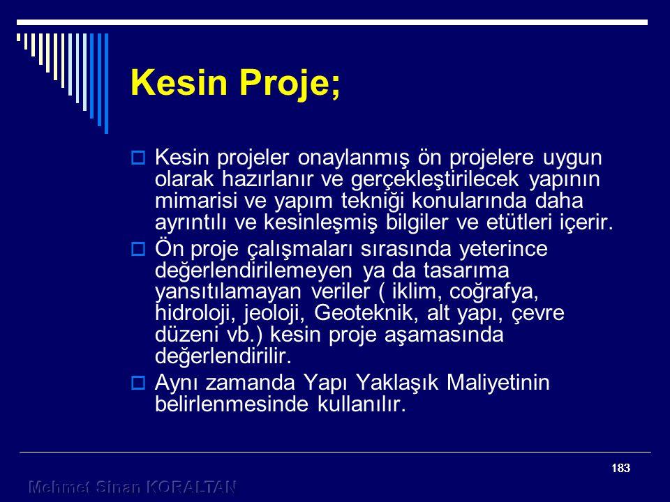 183 Kesin Proje;  Kesin projeler onaylanmış ön projelere uygun olarak hazırlanır ve gerçekleştirilecek yapının mimarisi ve yapım tekniği konularında daha ayrıntılı ve kesinleşmiş bilgiler ve etütleri içerir.