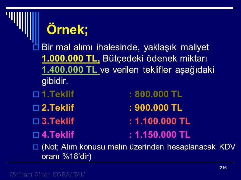 Örnek;  Bir mal alımı ihalesinde, yaklaşık maliyet 1.000.000 TL, Bütçedeki ödenek miktarı 1.400.000 TL ve verilen teklifler aşağıdaki gibidir.