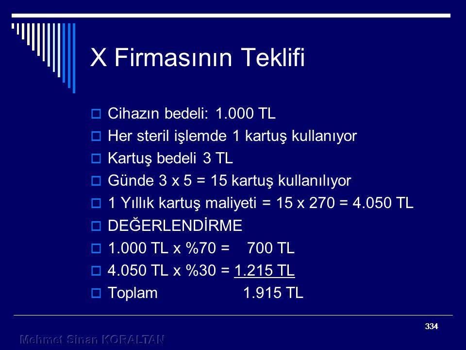 334 X Firmasının Teklifi  Cihazın bedeli: 1.000 TL  Her steril işlemde 1 kartuş kullanıyor  Kartuş bedeli 3 TL  Günde 3 x 5 = 15 kartuş kullanılıyor  1 Yıllık kartuş maliyeti = 15 x 270 = 4.050 TL  DEĞERLENDİRME  1.000 TL x %70 = 700 TL  4.050 TL x %30 = 1.215 TL  Toplam 1.915 TL