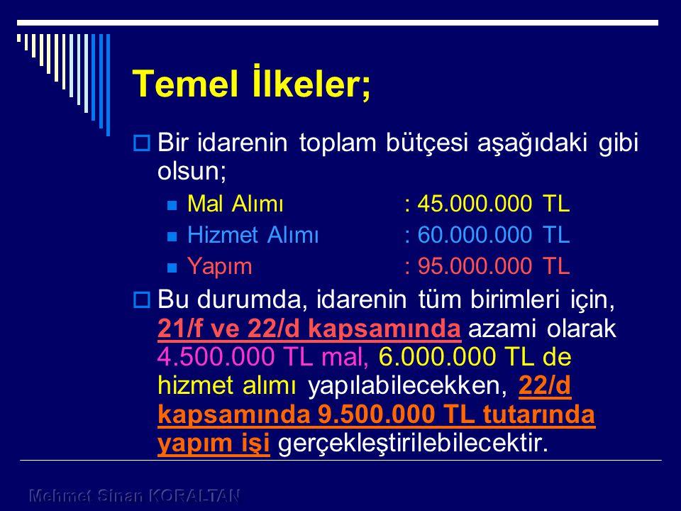 Temel İlkeler;  Bir idarenin toplam bütçesi aşağıdaki gibi olsun; Mal Alımı: 45.000.000 TL Hizmet Alımı: 60.000.000 TL Yapım: 95.000.000 TL  Bu durumda, idarenin tüm birimleri için, 21/f ve 22/d kapsamında azami olarak 4.500.000 TL mal, 6.000.000 TL de hizmet alımı yapılabilecekken, 22/d kapsamında 9.500.000 TL tutarında yapım işi gerçekleştirilebilecektir.