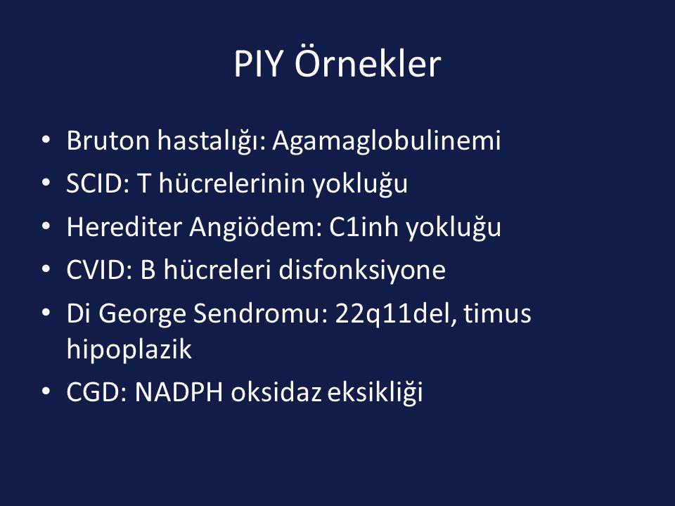 PIY Örnekler Bruton hastalığı: Agamaglobulinemi SCID: T hücrelerinin yokluğu Herediter Angiödem: C1inh yokluğu CVID: B hücreleri disfonksiyone Di George Sendromu: 22q11del, timus hipoplazik CGD: NADPH oksidaz eksikliği