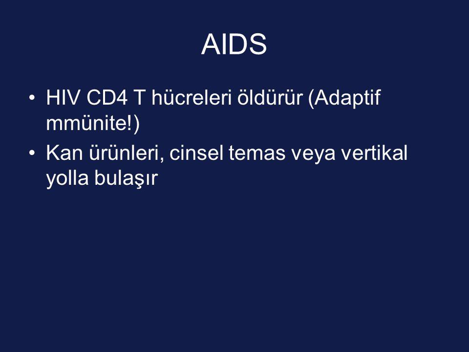 AIDS HIV CD4 T hücreleri öldürür (Adaptif mmünite!) Kan ürünleri, cinsel temas veya vertikal yolla bulaşır