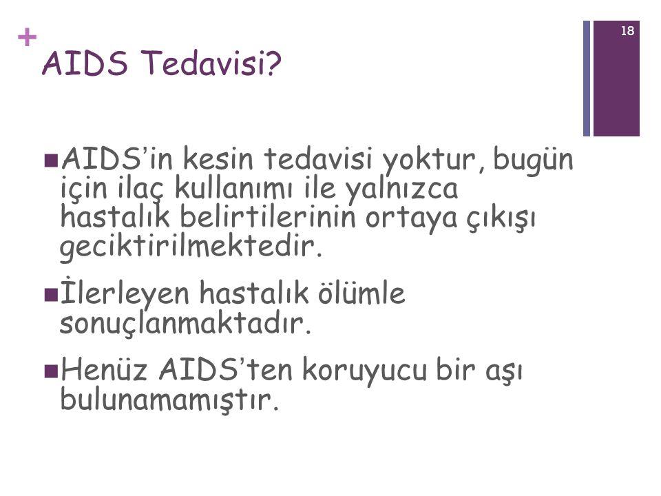 + 18 AIDS Tedavisi? AIDS ' in kesin tedavisi yoktur, bugün için ilaç kullanımı ile yalnızca hastalık belirtilerinin ortaya çıkışı geciktirilmektedir.