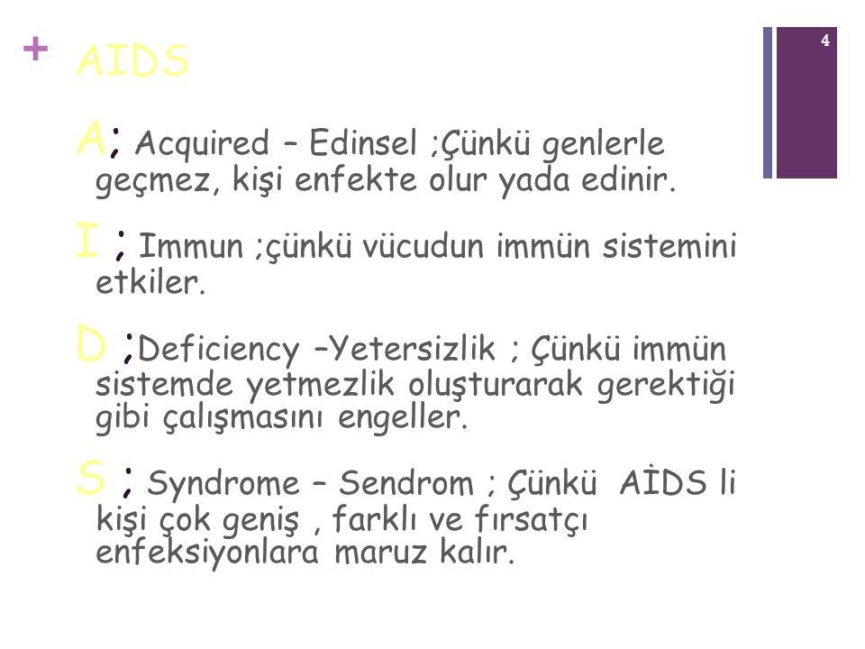 + 4 AIDS A; Acquired – Edinsel ;Çünkü genlerle geçmez, kişi enfekte olur yada edinir. I ; Immun ;çünkü vücudun immün sistemini etkiler. D ; Deficiency