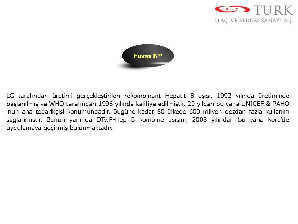 Euvax B™ LG tarafından üretimi gerçekleştirilen rekombinant Hepatit B aşısı, 1992 yılında üretiminde başlanılmış ve WHO tarafından 1996 yılında kalifi