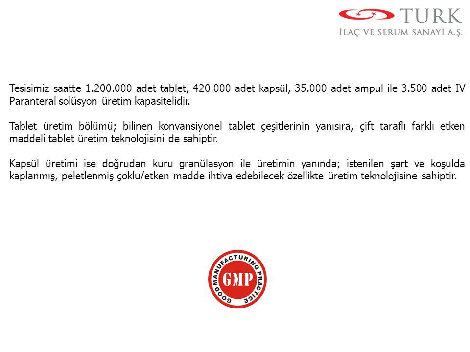 Tesisimiz saatte 1.200.000 adet tablet, 420.000 adet kapsül, 35.000 adet ampul ile 3.500 adet IV Paranteral solüsyon üretim kapasitelidir. Tablet üret