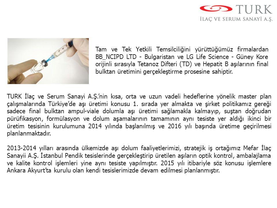 Tam ve Tek Yetkili Temsilciliğini yürüttüğümüz firmalardan BB_NCIPD LTD - Bulgaristan ve LG Life Science - Güney Kore orijinli sırasıyla Tetanoz Difte