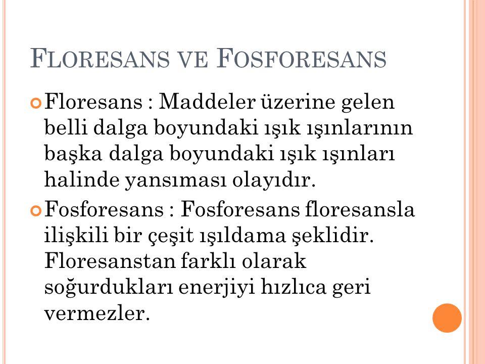 F LORESANS VE F OSFORESANS Floresans : Maddeler üzerine gelen belli dalga boyundaki ışık ışınlarının başka dalga boyundaki ışık ışınları halinde yansıması olayıdır.