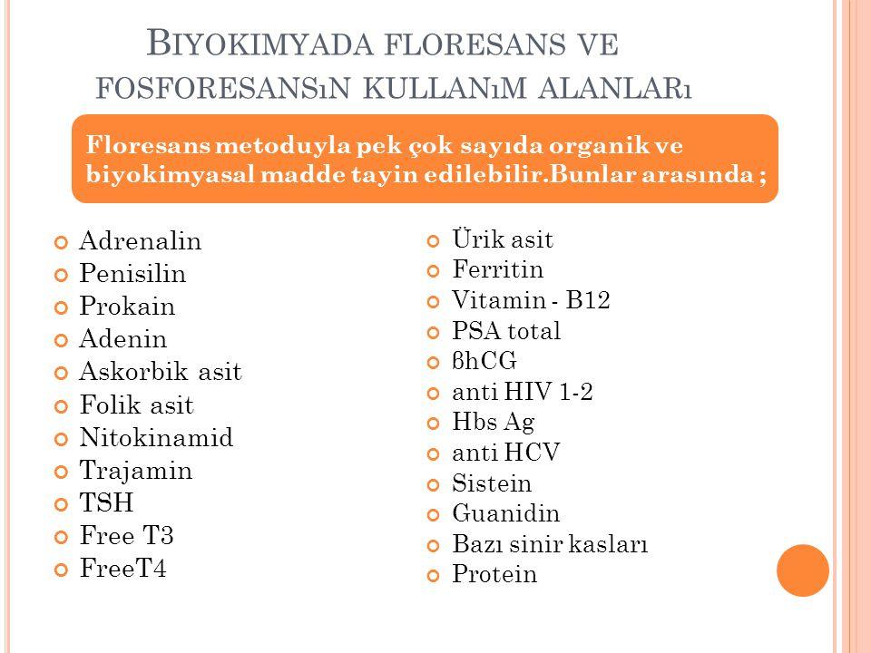 B IYOKIMYADA FLORESANS VE FOSFORESANSıN KULLANıM ALANLARı Adrenalin Penisilin Prokain Adenin Askorbik asit Folik asit Nitokinamid Trajamin TSH Free T3 FreeT4 Ürik asit Ferritin Vitamin - B12 PSA total βhCG anti HIV 1-2 Hbs Ag anti HCV Sistein Guanidin Bazı sinir kasları Protein Floresans metoduyla pek çok sayıda organik ve biyokimyasal madde tayin edilebilir.Bunlar arasında ;