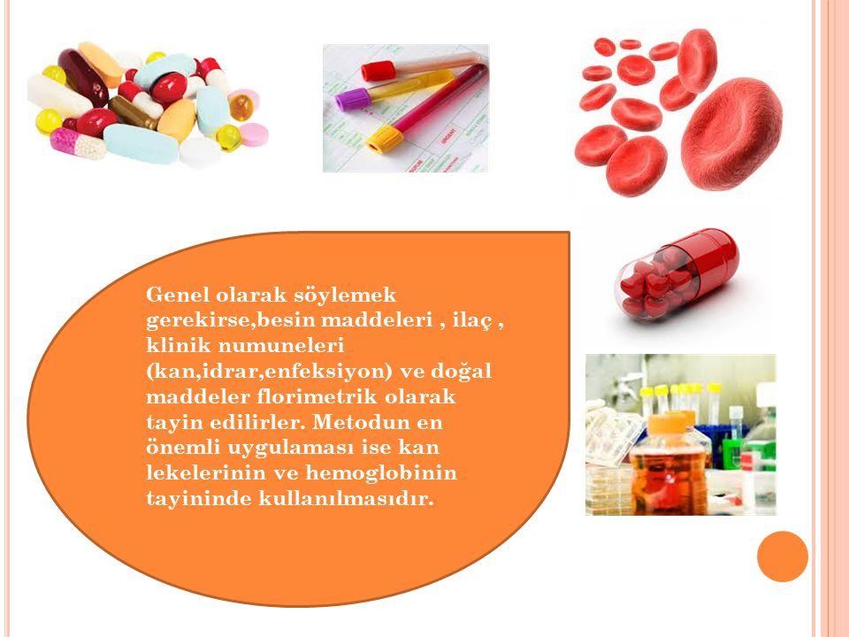 Genel olarak söylemek gerekirse,besin maddeleri, ilaç, klinik numuneleri (kan,idrar,enfeksiyon) ve doğal maddeler florimetrik olarak tayin edilirler.