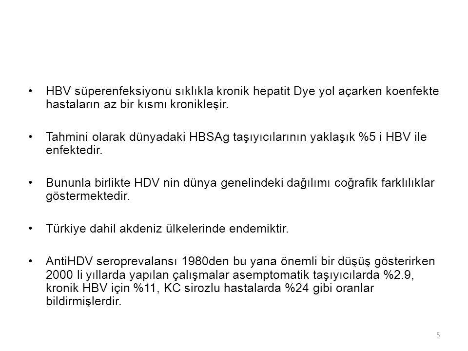 HBV süperenfeksiyonu sıklıkla kronik hepatit Dye yol açarken koenfekte hastaların az bir kısmı kronikleşir.