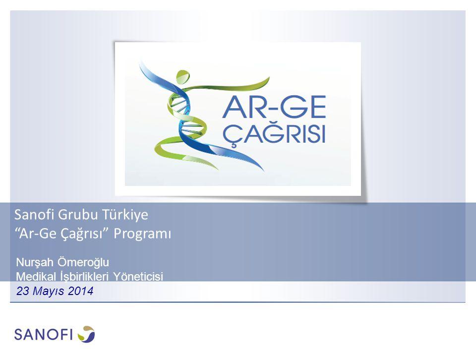 Sanofi Grubu Türkiye Ar-Ge Çağrısı Programı Nurşah Ömeroğlu Medikal İşbirlikleri Yöneticisi 23 Mayıs 2014
