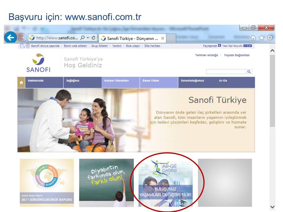 Başvuru için: www.sanofi.com.tr