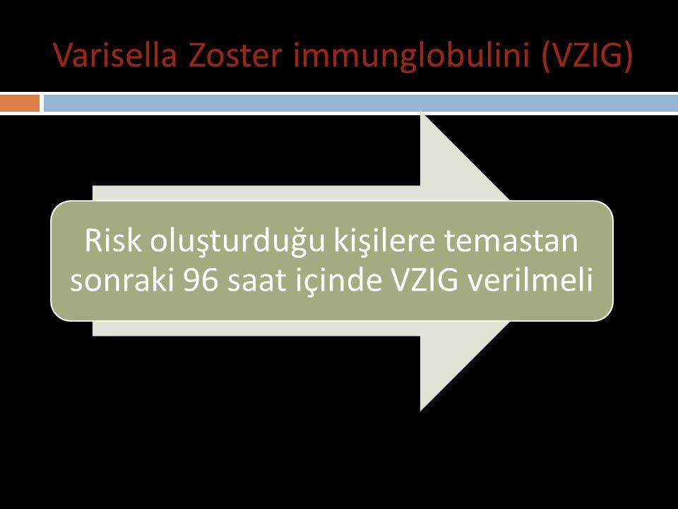 Varisella Zoster immunglobulini (VZIG) Varisella Zoster aşısı