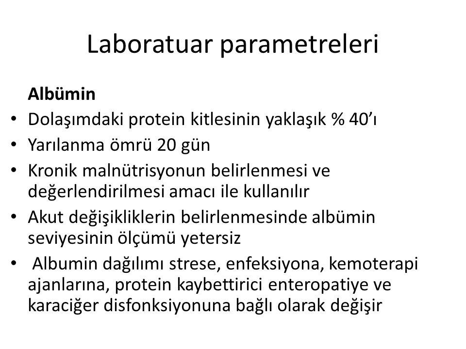 Laboratuar parametreleri Albümin Dolaşımdaki protein kitlesinin yaklaşık % 40'ı Yarılanma ömrü 20 gün Kronik malnütrisyonun belirlenmesi ve değerlendi
