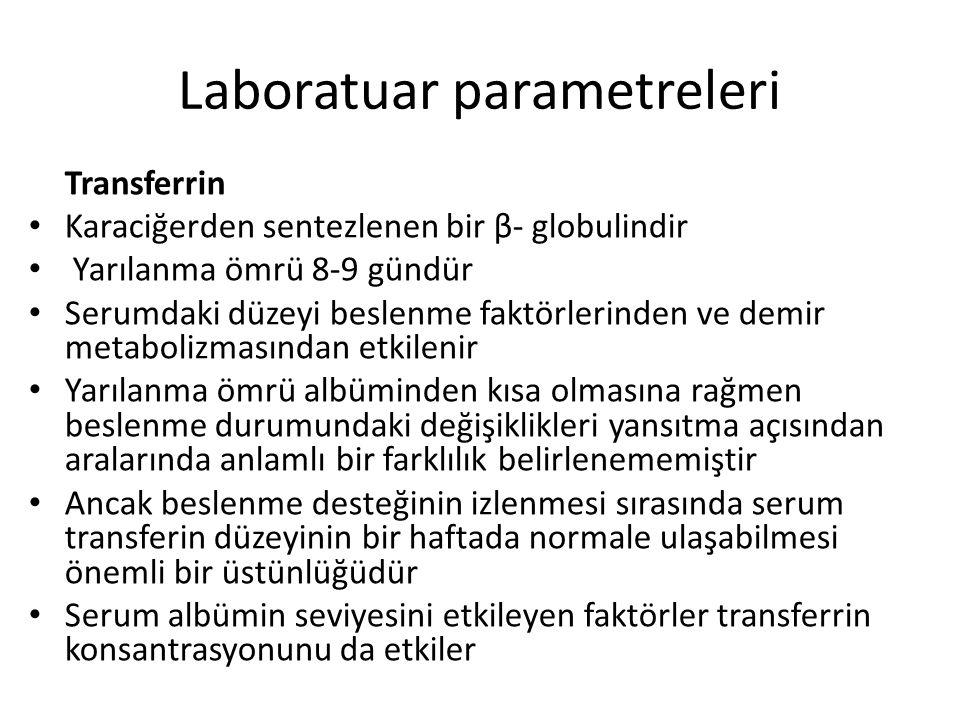 Laboratuar parametreleri Transferrin Karaciğerden sentezlenen bir β- globulindir Yarılanma ömrü 8-9 gündür Serumdaki düzeyi beslenme faktörlerinden ve