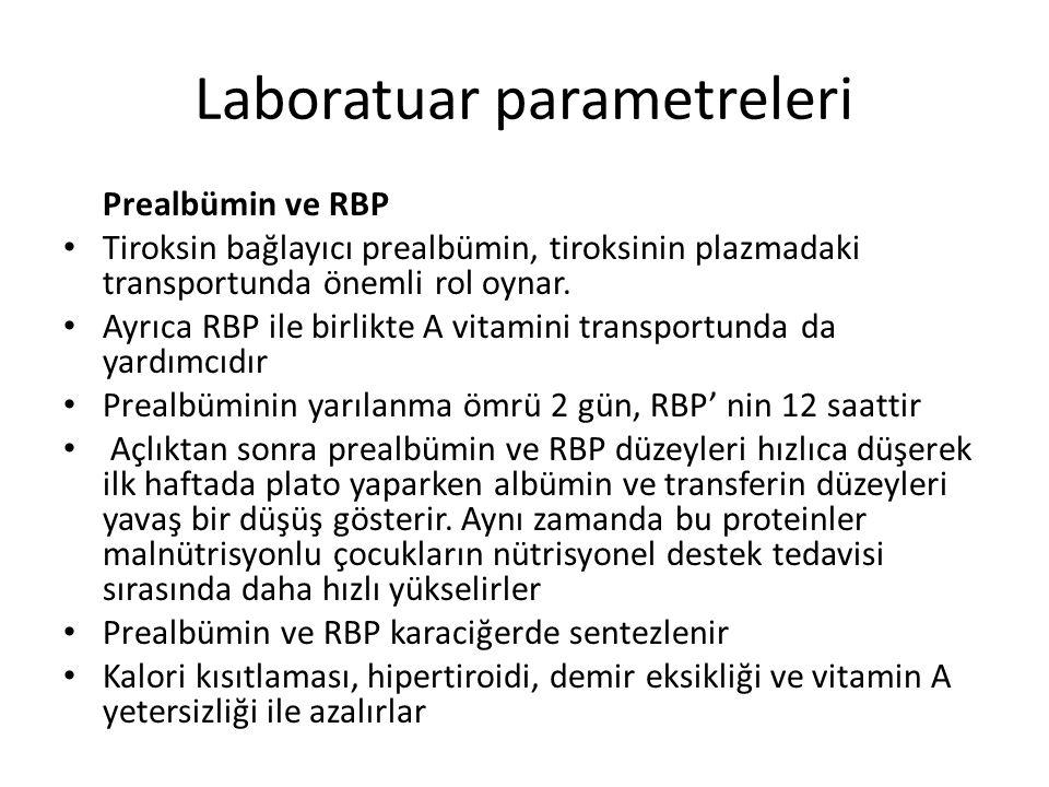 Laboratuar parametreleri Prealbümin ve RBP Tiroksin bağlayıcı prealbümin, tiroksinin plazmadaki transportunda önemli rol oynar. Ayrıca RBP ile birlikt