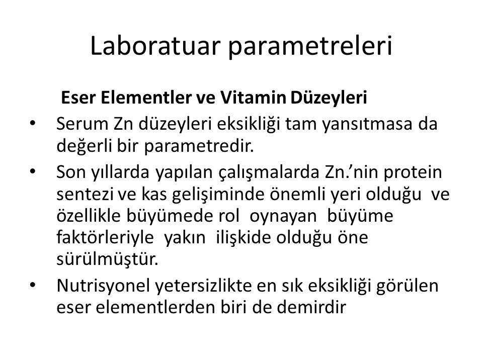 Laboratuar parametreleri Eser Elementler ve Vitamin Düzeyleri Serum Zn düzeyleri eksikliği tam yansıtmasa da değerli bir parametredir. Son yıllarda ya