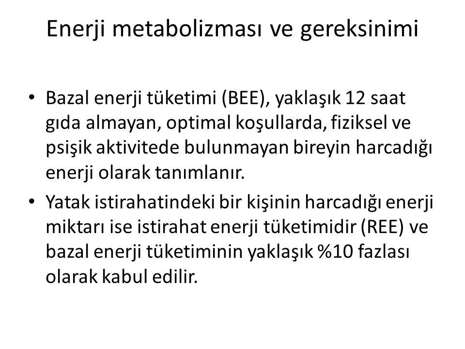 Enerji metabolizması ve gereksinimi Bazal enerji tüketimi (BEE), yaklaşık 12 saat gıda almayan, optimal koşullarda, fiziksel ve psişik aktivitede bulu