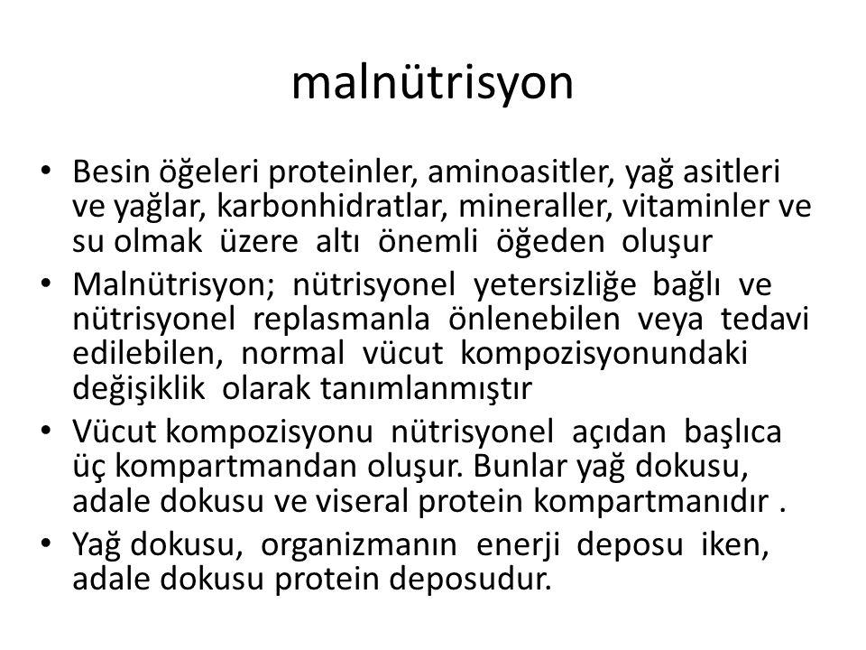 malnütrisyon Besin öğeleri proteinler, aminoasitler, yağ asitleri ve yağlar, karbonhidratlar, mineraller, vitaminler ve su olmak üzere altı önemli öğe