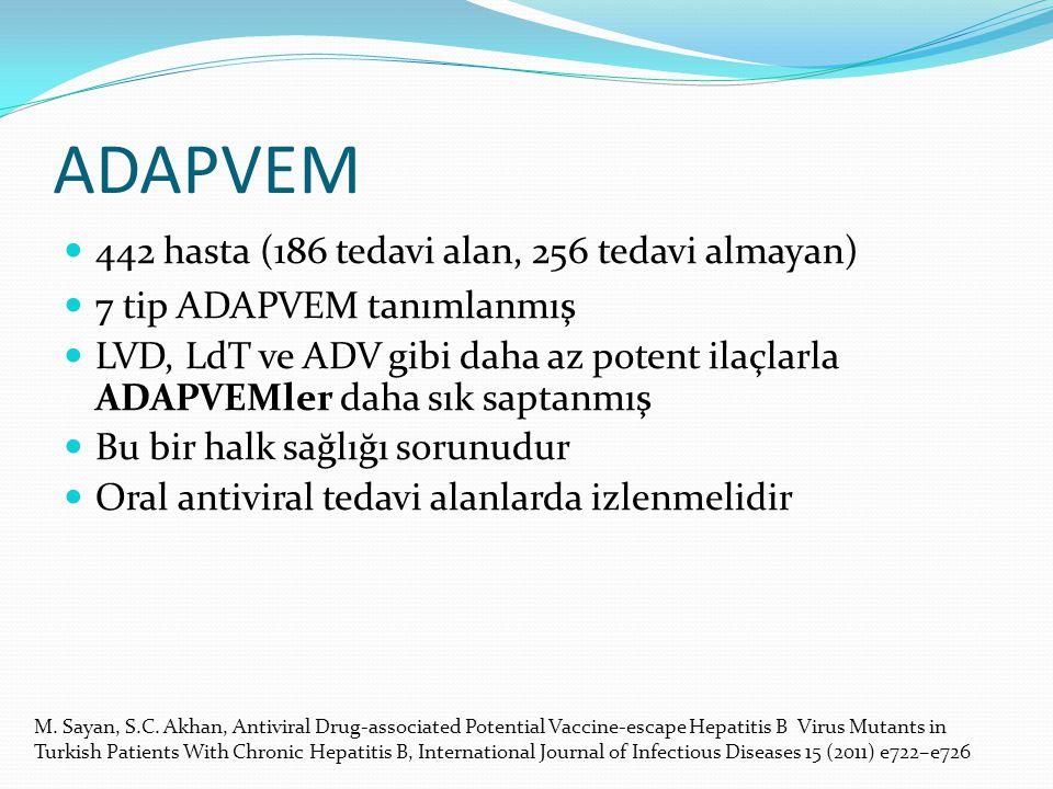 ADAPVEM 442 hasta (186 tedavi alan, 256 tedavi almayan) 7 tip ADAPVEM tanımlanmış LVD, LdT ve ADV gibi daha az potent ilaçlarla ADAPVEMler daha sık sa